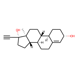 Ethynodiol structure rendering
