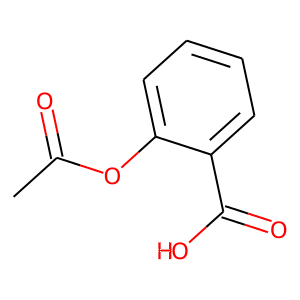 Acetylsalicylic acid structure rendering